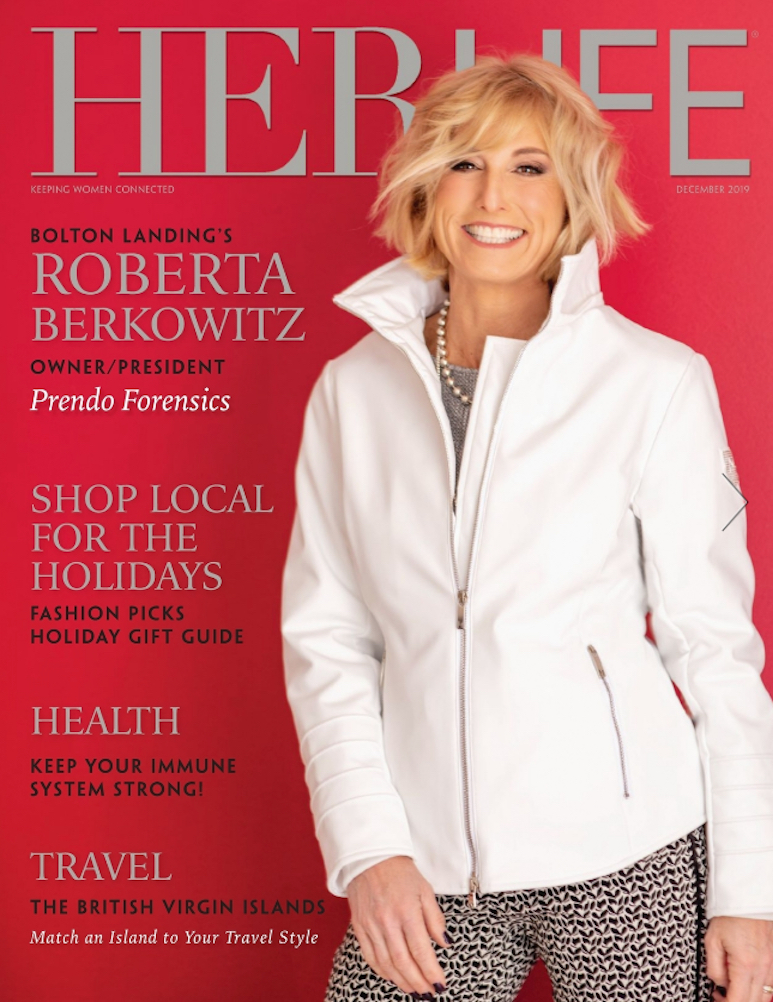 Cover of HerLife magazine showing headlines and a woman