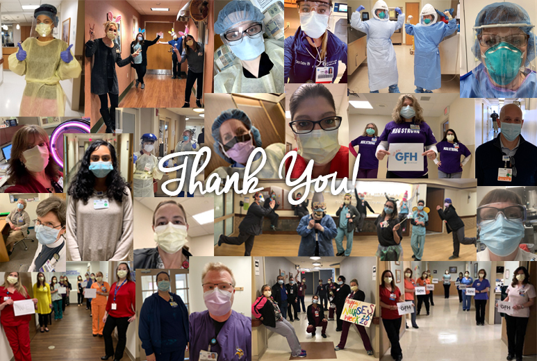 A collage photo of health care workers wearing masks and protective gear.