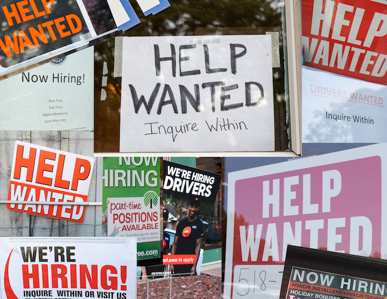 A montage of Help Wanted signs seen around Glens Falls recently