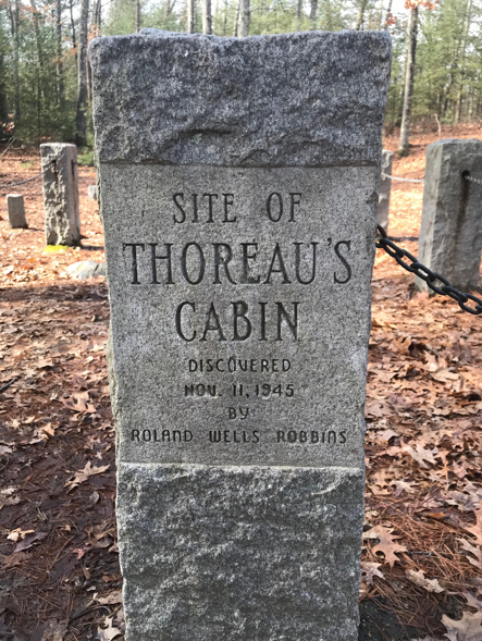 Marker for Thoreau's cabin at Walden Pond (photo by author)