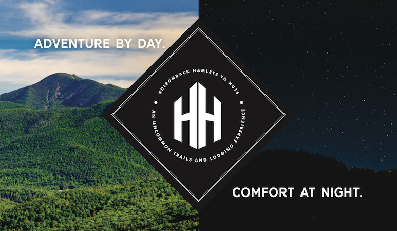 Logo of Adirondack mountains during daytime and nighttime, with Hamlets to Huts name in between