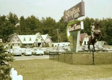 Photo of Storytown U.S.A. (circa 1957) with cowboy on rearing horse
