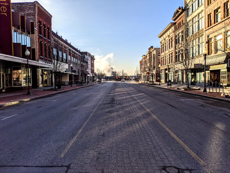 A view of an empty main street (Glen Street) in downtown Glens Falls